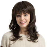 Long Curly Wig Deep Brown Layered Women Wavy Synthetic Hair Wig Heat Safe