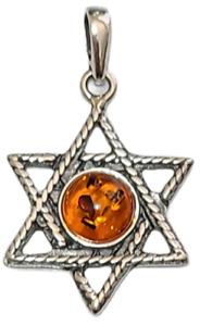 Star of David Pendant Genuine Baltic Brown Amber 925 Sterling Silver  # 55