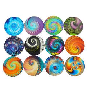 20 Mix Swirl Fireworks Pattern Cabochons Glass Flat Back Time Gems Round 8-30mm