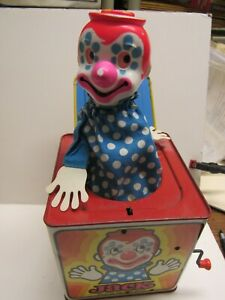 1971 MATTEL TIN LITHO JACK IN THE MUSIC BOX CLOWN WORKS WELL IN ORIGINAL BOX
