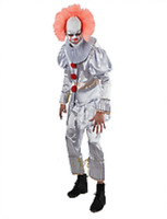 Spooky IT Evil Clown Costume Mens Halloween Costume Party Outfit Large XL