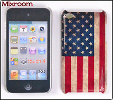 Cover Custodia rigida per Apple iPod Touch 4 4G BANDIERA AMERICANA USA VINTAGE