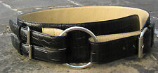 M - Wide Black Curved Belt womens with crocodile pattern, 3 silver metal buckles