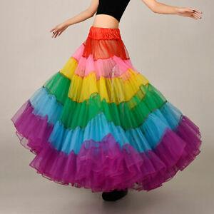 2021 new Rainbow Long Petticoat Crinoline Underskirt Bridal Skirt Tutu Dress H1