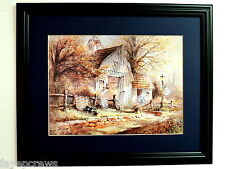 ANTIQUE  SHOP PICTURE ANTIQUE BARN QUILTS WAGON WHEEL MATTED FRAMED 16X20
