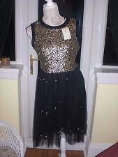 Darling BNWT Black Net Gothic/Fairy Sequins/Pearls Dress SZ12? Party/Cruise/Prom