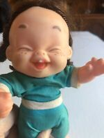 """Adorable Vintage 7"""" FRECKLE FACE Giggling Baby Doll Unmarked Pigtails One Tooth"""