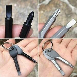 2 Pocket Outdoor EDC Stainless Steel Screwdriver Key Ring Keychain Multi Tools