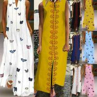 Boho Women Sleeveless V-neck Maxi Dress Hem Baggy Kaftan Long Vest Dresses