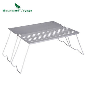 Titanium Folding Campfire Grill with Frying Plate Legs Collapsible Grilled Net