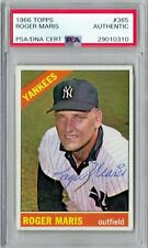 1966 Roger Maris Signed Auto Topps Base Card Yankees #365 PSA/DNA Slabbed