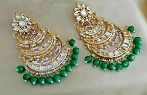 Bollywood Gold Finish Kundan Wedding Earrings Fashion Designer Enameled Jewelry