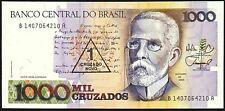 1989 Brazil 1 Cruzado Novo on 1000 Cruzados Banknote * aUNC * P-216b *