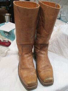 Men's Vintage 70's Frye Leather Square Toe Campus Biker Boots Size 12 D MADE USA