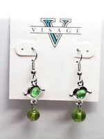Visage Vintage Earrings Dangling Drop Green Glass Bead Fish Hook New Old Stock
