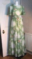 Vintage Floaty 1970s Handmade Green Floral Maxi Dress Retro Size 8