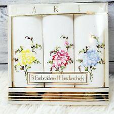Vintage Paris  Ladies Floral Embroidered Handkerchiefs 1970s 3 NIB NEW