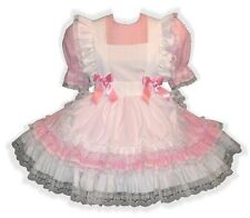 """Cassie"" CUSTOM Fit Pink & White Adult Little Girl Sissy Pinafore Dress LEANNE"