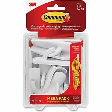 Command General Purpose Hooks 3lb Capacity Plastic White 20 Hooks 24 Strips/Pack