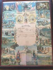 Large Framed Antique Improved Order Of Redmen Certificate Massachusetts