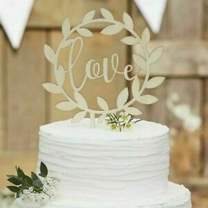 Wedding Cake topper LOVE. Wooden Anniversary / Engagement By Ginger Ray (CW234)