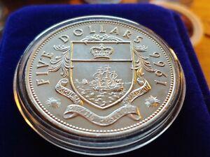 TOP GEM DCAM London MINT 925 Sterling Silver 1966 BAHAMAS $5 DOLLARS w HOLDER