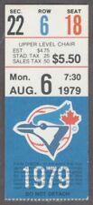 1979 TORONTO BLUE JAYS vs Kansas City Royals Ticket Stub 8/6 Brett 2 Hits 4 RBIs