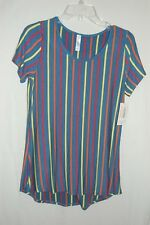 NWT LuLaRoe Classic Tee T Blue Red Yellow Orange Striped Women's Size XS