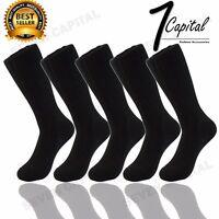 3 6 9 12 Pairs Mens Solid Plain All Black Cotton Winter Crew Dress Socks 10 - 13