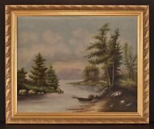 19th C Hudson River Valley Landscape Oil on Linen Signed Isabell T. Birdsall, NY