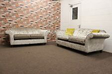 HARRIS 3 AND 2 SEATER FABRIC SOFAS IN SILVER GREY, CRUSHED VELVET FABRIC