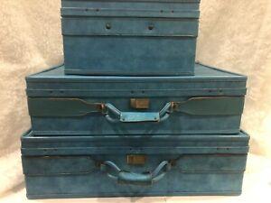 Vintage Hartmann Leather Luggage 3pc Retro Aqua Teal Belting Style Train