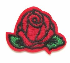 Rose Iron On Patch- Embroidered Flower Applique Badge Crafts Sew Patches