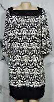 THE LIMITED Black Beige Patterned Dress Tall Medium Solid Black Trim 3/4 Sleeves