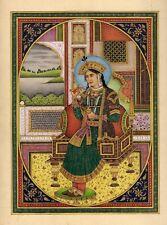 Portrait Painting of Empress Mumtaz Mahal Natural Ruby & Original Gold Work