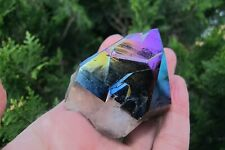 Amethyst Titanium Crystal Point double healing treated polished Flame Aura 146g