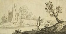 200 year old antique copper etching; Landscape; on laid paper with watermark.