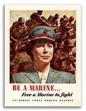 """1943 """"Be a Marine"""" Women's ReserveVintage Style WW2 Poster - 18x24"""