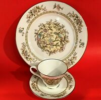 LENOX BONE CHINA OXFORD SONG BIRDS 3 PIECE CUP SAUCER DINNER PLATE GOLD RIM