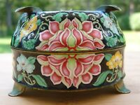 Antique Chinese 19th C. Finely Painted Enamel Lotus Ashtray