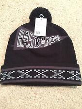 Genuine Beanie Crooks & Castles Mens Knit Hat Bastards Pennant Black RRP $49.99