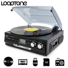 LoopTone Turntable Vinyl Record Player AM/FM Radio Cassette USB/SD recorder