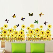 Flying Butterfly SunFlower Fence Removable Art Wall Sticker Decal Art Home Decor