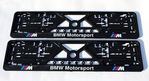 2x CAR LICENCE NUMBER PLATE SURROUNDS HOLDER FRAMES for BMW M-POWER MOTORSPORT
