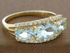 R228  Genuine 9K Solid Gold Natural Aquamarine Diamond Trilogy Ring large size S