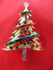 Vintage Pell Christmas Tree Brooch Pin With Multicolor Rhinestone Garland
