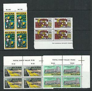 NIGERIA 1973-74 Definitives (Scott 291-307 short 305) VF MNH blks/plate blocks