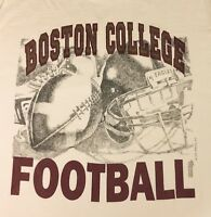 Boston College Eagles Football Mens L Made In USA Tan T-Shirt Vintage