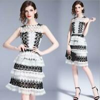 Womens Mid Long Dresses Elegant Slim Waist Hollow Out Occident Chic Sleeves sz