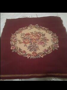 Burgundy Floral Tapestry Needlepoint For Chair Bench Stool Cover Unused